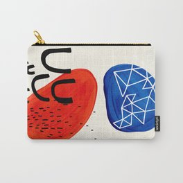Mid Century Modern abstract Minimalist Fun Colorful Shapes Patterns Orange Blue Bubbles Organic Carry-All Pouch