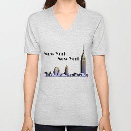 New York New York skyline retro 1930s style Unisex V-Neck