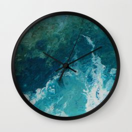 Ocean View, abstract acrylic fluid painting Wall Clock