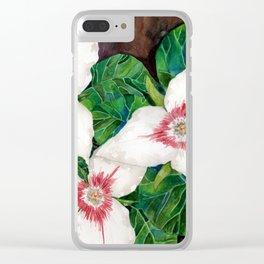 Trillium flowers white leaves wildflower Clear iPhone Case