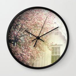 Cottage and Magnolias Wall Clock