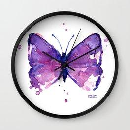 Butterfly Purple Watercolor Animal Wall Clock