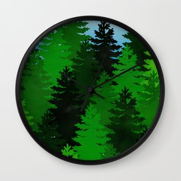 Green Pine Trees Wall Clock