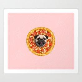 Pug Lover Pizza Art Print