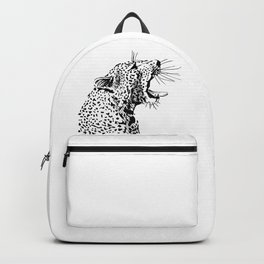 Head of a roaring leopard Backpack