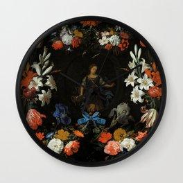 "Abraham Mignon ""Garland of Flowers"" Wall Clock"