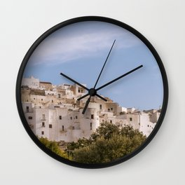 Panoramic view of the medieval white village of Ostuni Wall Clock
