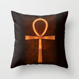 Ankh in Glowing Orange Throw Pillow