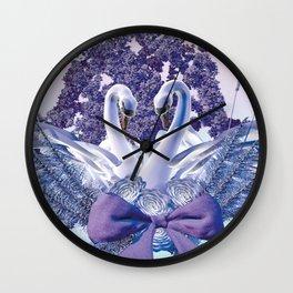 romantic swan couple Wall Clock