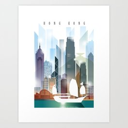 The city skyline of Hong Kong Art Print