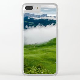 Full green mountain top with clouds beneath Clear iPhone Case