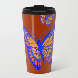 CHOCOLATE COLOR & BLUE-GOLD MONARCH BUTTERFLIES Travel Mug