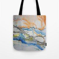 reassurance Tote Bags featuring Abstract colors 1 by Magdalena Hristova