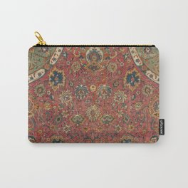 Persian Medallion Rug IV // 16th Century Distressed Red Green Blue Flowery Colorful Ornate Pattern Carry-All Pouch