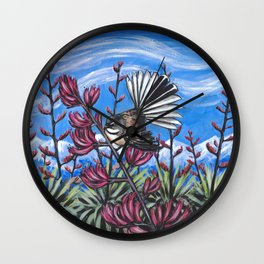 Fantail in the Harakeke Wall Clock