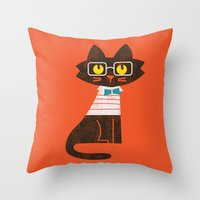 preppy Throw Pillows featuring Fitz - Preppy cat by Picomodi