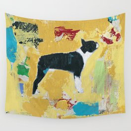Boston Terrier Painting Art Wall Tapestry