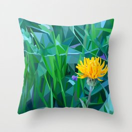 Yellow flower in the grass Throw Pillow