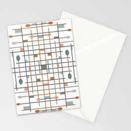 Retro Shapes - Teal Stationery Cards