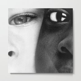"""American Dreams - African American and White American """"Hope"""" portrait black and white photograph / photography  Metal Print"""