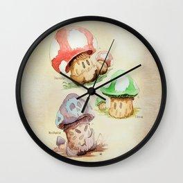 Mario Mushrooms Botanical Illustration Wall Clock