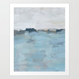 Navy & Baby Blue Abstract Nature Art Painting Art Print