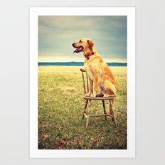 DogOnChair Art Print