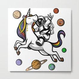 Space Astronaut Riding Unicorn Metal Print