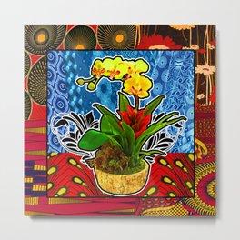 Red Floral Succulent Metal Print