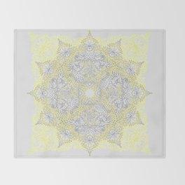 Sunny Doodle Mandala in Yellow & Grey Throw Blanket