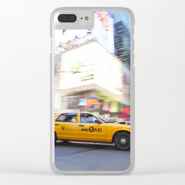 Yellow taxi cab in times square Clear iPhone Case
