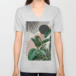 Ficus Snake Plant Fan Palm Finesse #1 #tropical #decor #art #society6 Unisex V-Neck