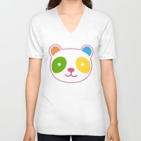murakami V-neck T-shirts featuring Rainbow Panda by XOOXOO