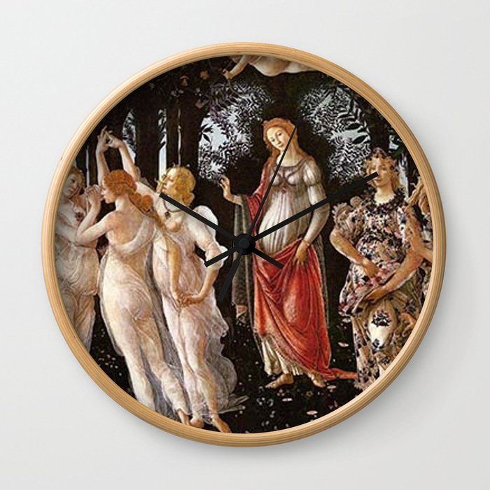Primavera Painting by Sandro Botticelli Wall Clock