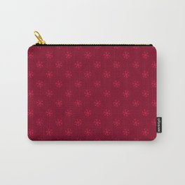 Crimson Red on Burgundy Red Snowflakes Carry-All Pouch