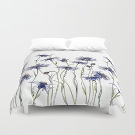Blue Cornflowers, Illustration Duvet Cover