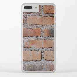 Aged Brick Wall rustic decor Clear iPhone Case