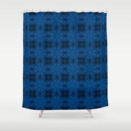 Lapis Blue Floral Geometric Shower Curtain