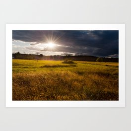 Breathtaking sunset above meadow Art Print