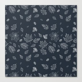 Pastel navy blue white hand painted autumn leaves Canvas Print