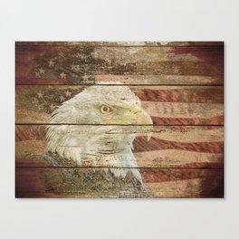 Rustic Bald Eagle Bird American Flag Patriotic Country Art A167 Canvas Print