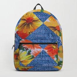 Orange Floral Print Argoyle Backpack