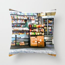 Subway News Stand Vendor Throw Pillow