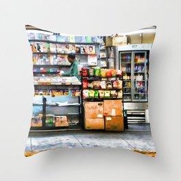 Subway News Stand Vendor Throw Pillow