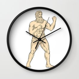 Hercules In Boxer Fighting Stance Drawing Color Wall Clock