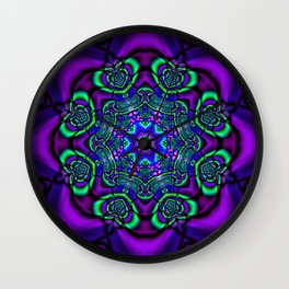 Green Hearts and Purple Flower Wall Clock