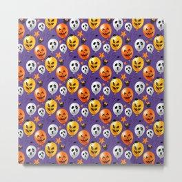 Halloween Mouse Ears Bow Bats & Balloons Metal Print
