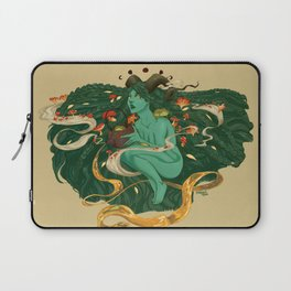 Green Witch with Frogs and Mushrooms Laptop Sleeve