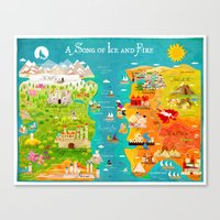 game of thrones Canvas Prints featuring A Map of Ice and Fire by Kitkat Pecson