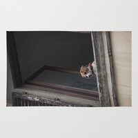 snoopy Area & Throw Rugs featuring take me with you _ Beagle in a window by Vin Zzep